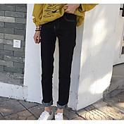レディース ストリートファッション ジーンズ マイクロエラスティック ジーンズ パンツ ソリッド