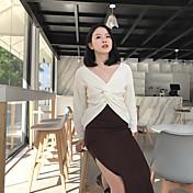 Mujer Regular Pullover Casual/Diario Simple,Un Color Escote en Pico Manga Larga Algodón Otoño Medio Microelástico