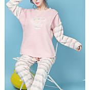 Mujer Traje Pijamas,Un Color Algodón Poliéster Lavanda