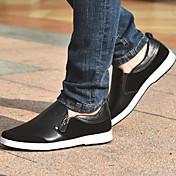 男性用 靴 レザー 春 秋 硫化鞋(胶底鞋) コンフォートシューズ ローファー&スリップアドオン ゴア のために カジュアル ブラック Brown ブルー