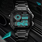 Niños Pareja Reloj Casual Reloj Deportivo Reloj de Moda Chino Digital Calendario Resistente al Agua Noctilucente Dos Husos Horarios