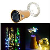 Tapón de la botella de vino de la cadena de vino solar 10led decoración de fiesta al aire libre del alambre de la tira de hadas de cobre