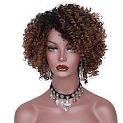 Mujer Pelucas sintéticas Corto Afro Negro/Marrón Raíces oscuras Corte a capas Peluca natural Pelucas para Disfraz