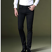 Hombre Simple Tiro Medio Microelástico Empresa Pantalones,A Rayas Otoño