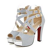 Mujer Zapatos PU Primavera Verano Confort Innovador Sandalias Tacón alto Punta abierta Hebilla para Boda Fiesta y Noche Dorado Negro Plata