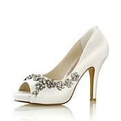 Mujer Zapatos Satén Elástico Primavera Verano Pump Básico Zapatos de boda Tacón Stiletto Punta abierta Cristal para Vestido Fiesta y Noche
