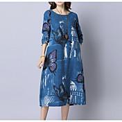 Mujer Corte Ancho Vestido Casual/Diario Simple,Estampado Escote Redondo Midi Mangas 3/4 Algodón Primavera Otoño Tiro Medio Microelástico