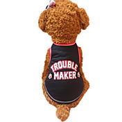 Perros Chaleco Rojo Negro Ropa para Perro Verano Letra y Número Moda