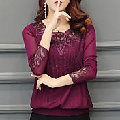 Mujer Activo Casual/Diario Noche Invierno Otoño Camiseta,Escote Redondo Un Color Mangas largas Poliéster Grueso