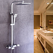 Moderno Conjunto Central Alcachofa incluida Válvula Cerámica Sola manija Dos Agujeros Cromo , Grifo de ducha