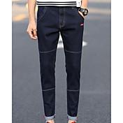 Hombre Simple Tiro Medio Microelástico Vaqueros Pantalones,Un Color Invierno Otoño