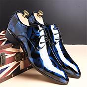 Hombre Zapatos Cuero Primavera Otoño Confort Zapatos formales Oxfords Paseo Con Cordón para Casual Negro Plateado Rojo Azul