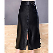 Mujer Vintage Noche Midi Faldas,Línea A Poliuretano Otoño Un Color