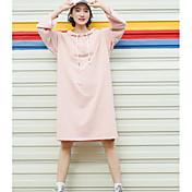 Mujer Corte Ancho Vestido Noche Simple,Un Color Con Capucha Hasta la Rodilla Mangas 3/4 Algodón Primavera Otoño Tiro Medio Microelástico