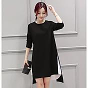 Mujer Corte Ancho Vestido Casual/Diario Simple,Bloques Escote Redondo Asimétrico Mangas largas Algodón Primavera Otoño Tiro Medio