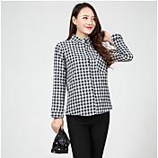 Mujer Camisa, Escote Cuadrado Cuadrícula Algodón