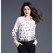 Mujer Sofisticado Casual/Diario Camisa,Cuello Camisero Estampado Manga Larga Algodón