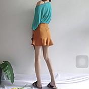 Mujer Simple Sensual Noche Primavera/Otoño Verano Camiseta Falda Trajes,Escote Redondo Un Color Manga Corta Algodón Color puro