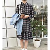 Mujer Algodón Camisa Vestido Bloques Midi Cuello Camisero