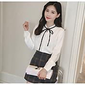 Mujer Sofisticado Casual/Diario Camisa,Escote Chino Un Color Manga Larga Poliéster