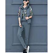 Mujer Tejido Oriental Conjunto - Geométrico Pantalón