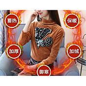 Mujer Vintage Casual/Diario Camiseta,Cuello Barco Cosecha Manga Larga Algodón / nylon con un toque de elasticidad