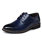 Hombre Zapatos Cuero real Cuero Primavera Otoño Zapatos formales Oxfords Combinación Para Fiesta y Noche Negro Amarillo Marrón Azul