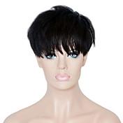 Corto Corte Recto Corte Pixie Con flequillo Hecho a Máquina Cabello humano pelucas Corta Negro Natural