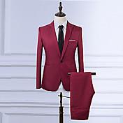 男性用 プラスサイズ ブレザー - ビジネス ヴィンテージ スリム ソリッド