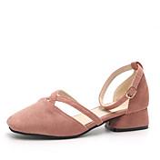 Mujer Zapatos PU Verano Confort Zapatillas y flip-flops Paseo Tacón Cuadrado Dedo redondo Poroso para Casual/Diario Negro Rosa Color