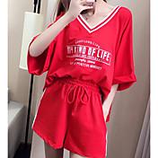 Mujer Básico Blusa - A Rayas Letra, Estampado Pantalón