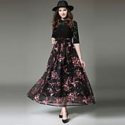 Mujer Sofisticado Chic de Calle Corte Swing Vestido - Encaje Lazo, Floral Maxi
