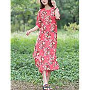 Mujer Camiseta Vestido Floral Midi