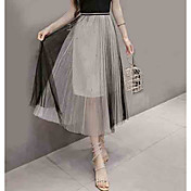 Mujer Noche Línea A Faldas Un Color Alta cintura