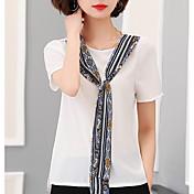 camisa de mujer - cuello redondo de color sólido