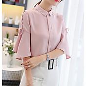 Mujer Básico Acordonado Blusa, Cuello Camisero Un Color / Verano