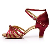 Mujer Zapatos de Baile Latino Satén Sandalia / Tacones Alto Corte Tacón Personalizado Personalizables Zapatos de baile Rojo Oscuro