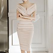 Mujer Corte Bodycon Vestido Un Color Hasta la Rodilla