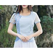 blusa para mujer que sale - cuello redondo de color sólido