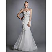 Trompeta / Sirena Escote Corazón Larga Encaje / Tul Vestidos de novia hechos a medida con Apliques / Encaje por LAN TING BRIDE®