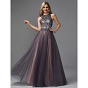 Corte en A Joya Hasta el Suelo Tul Ojo de cerradura Fiesta de baile / Evento Formal Vestido con Cuentas por TS Couture®