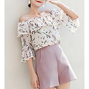 Mujer Volante / Retazos / Estampado Blusa Un Color / Geométrico
