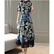 Mujer Básico / Chic de Calle Corte Swing Vestido - Estampado, Floral Midi