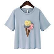 Mujer Lentejuelas / Retazos / Bordado Camiseta Un Color / Floral / Letra
