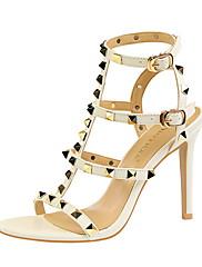 Feminino Sapatos Courino Verão Conforto Sandálias Salto Agulha Dedo Aberto Tachas Para Social Branco Preto Vermelho Nú