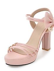 Feminino Sapatos Couro Ecológico Primavera Verão Conforto Sandálias Para Casual Branco Preto Bege Roxo Rosa claro