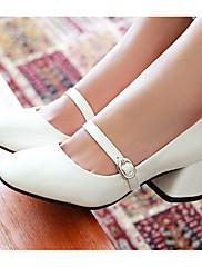 Feminino Sapatos Couro Ecológico Primavera Verão Conforto Sandálias Para Casual Branco Vermelho Rosa claro