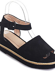 Damer Sko Velouriseret PU Forår Sommer Komfort Sandaler Til Afslappet Sort Beige Grå