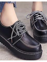 Feminino Sapatos Couro Ecológico Primavera Outono Conforto Oxfords Salto Grosso Para Casual Preto Marron