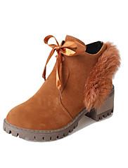 Feminino Sapatos Pele Nobuck Outono Inverno Conforto Curta/Ankle Botas Salto Grosso Ponta Redonda Botas Curtas / Ankle Cadarço Para